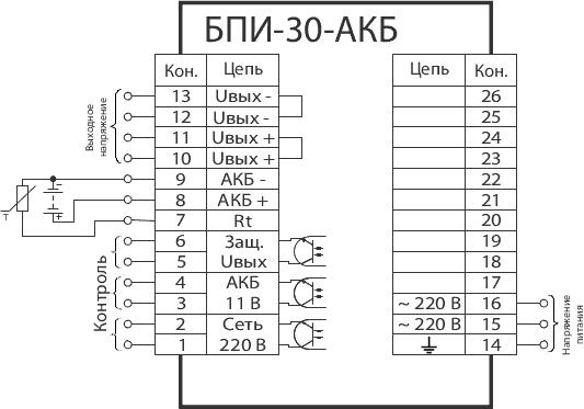 Схема подключения БПИ-30-АКБ