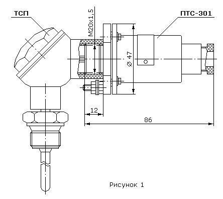 Схема электрическая соединений преобразователя термометра сопротивления ПТС-301. преобразователя для термометра...
