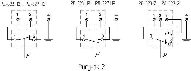 Схема электрическая соединений реле давления РК-301Д.