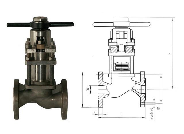 Клапаны запорные сильфонные с дублирующим сальником 15нж66п, 15с66п (АКС 26104) PN 4,0 МПа