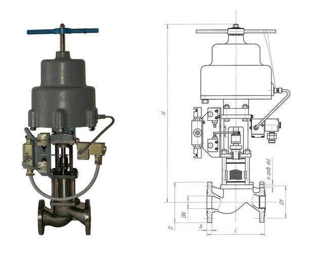 Клапан отсечной сильфонный с пневмоприводом НЗ 22нж615п (АКС 96001) PN 1,6 МПа