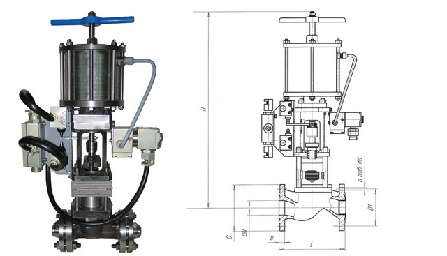 Клапан отсечной сильфонный с пневмоприводом НО 22нж616п (АКС 96002) PN 1,6 МПа