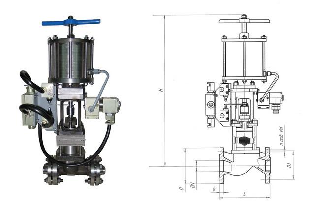 Клапан отсечной сильфонный с пневмоприводом НЗ 22нж617п (АКС 96003) PN 1,6 МПа