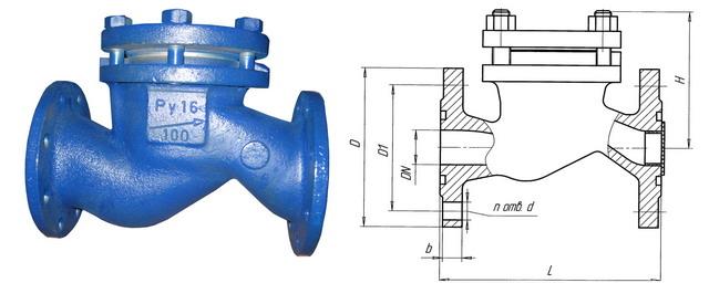 Клапан обратный подъемный 16с10п, 16нж10п (АКС 41002) PN 1,6 МПа
