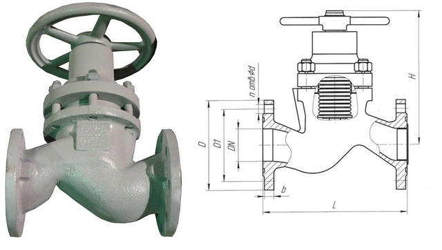 Клапан запорный сильфонный 15нж40п, 15с40п (АКС 26102) PN 4,0 МПа
