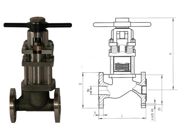 Клапаны запорные сильфонные с дублирующим сальником 15нж60п, 15с60п (АКС 26103) PN 1,6 МПа